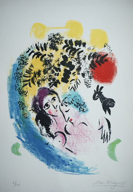 Marc Chagall, 'Lovers with Red Sun', 1960, Print, Lithograph in colors, Upsilon Gallery