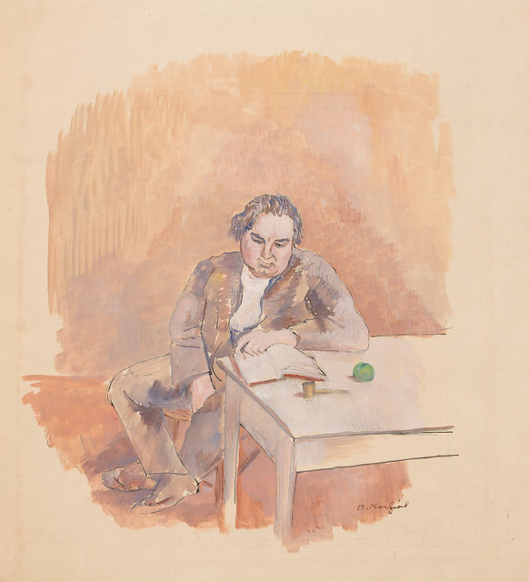 Bernard Karfiol, 'Man Reading', circa 1925, Drawing, Collage or other Work on Paper, Ink and gouache on paper, Doyle