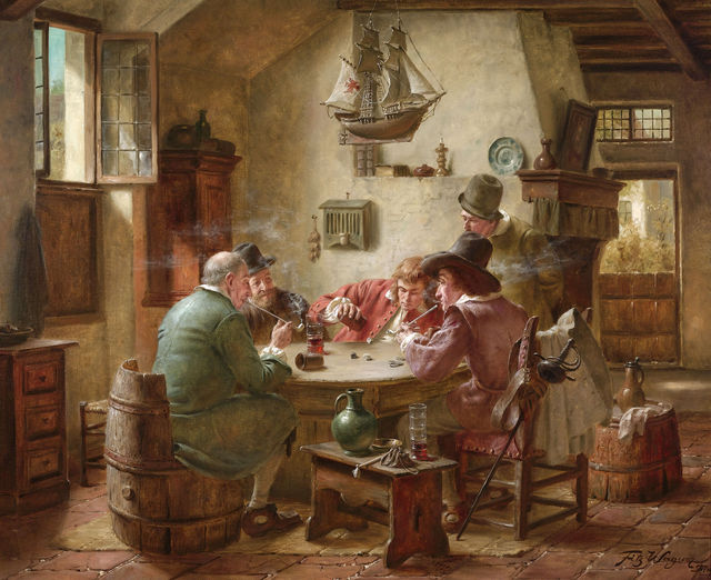 , 'Playing Dice,' 20th century, M.S. Rau Antiques