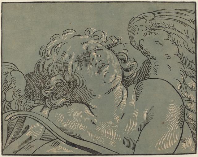 Bartolomeo Coriolano after Guido Reni, 'Cupid Asleep', Print, Chiaroscuro woodcut, National Gallery of Art, Washington, D.C.