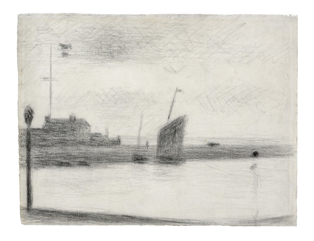 Georges Seurat, 'Un Soir, Gravelines', 1890, Drawing, Collage or other Work on Paper, Conté crayon on Michallet paper, Daxer & Marschall