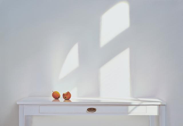 , 'Tisch mit zwei Aepfeln im Schatten,' 2016, Galerie Barbara von Stechow