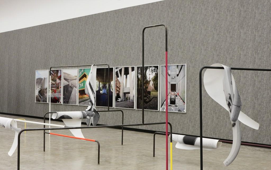 Installation view: Béton, Kunsthalle Wien 2016, Photo: Stephan Wyckoff: Sofie Thorsen, Spielplastiken, 2010–2016, Courtesy Galerie Krobath, Vienna; Werner Feiersinger, Ohne Titel (Dante Bini), 2013; Ohne Titel (Fregene), 2015; Ohne Titel (Burri), 2016; Ohne Titel (Gino Valle), 2009; Ohne Titel (Musmeci), 2015; Ohne Titel (Morandi), 2010; Ohne Titel (Baratti), 2011; Ohne Titel (Corviale), 2015; Courtesy the artist and Galerie Martin Janda, Vienna