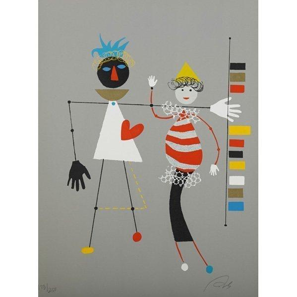 Wolfgang Roth, 'Rare Wolfgang Roth Dada Bauhaus Circus Silkscreen Print 4', 20th Century, Lions Gallery