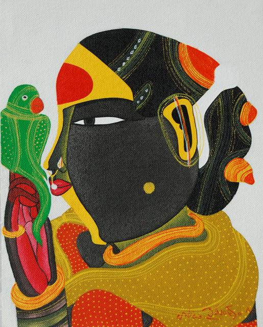 , 'Telengana Women with green parrot, figurative, acrylic in red & yellow by Modern Indian Artist Thota Vaikuntam,' 2011, Gallery Kolkata