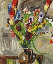 Brown Vase and Flowers