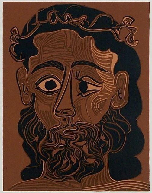 Pablo Picasso, 'Homme Barbu Courenne De Feuillers de Vigne ', 1962, Print, Linocut in Colors, Off The Wall Gallery