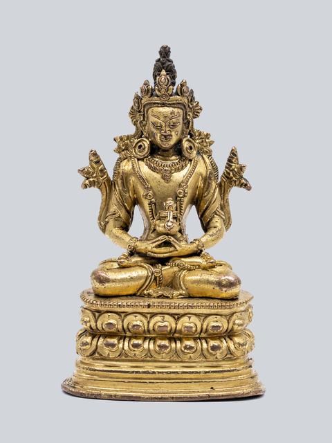 Bronze Sculpture, 'A Gilt Bronze Figure of Amitayus, Pala Revival Style, China, 17-18th Century, 16.5 cm.', Sculpture, Arman Antiques Gallery