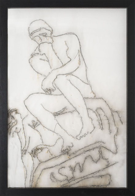 Mircea Cantor, 'Sic Transit Gloria Mundi (Le Penseur / Rodin) ', 2017, Mixed Media, Gunpowder blast, smoke, plexiglas, Magazzino