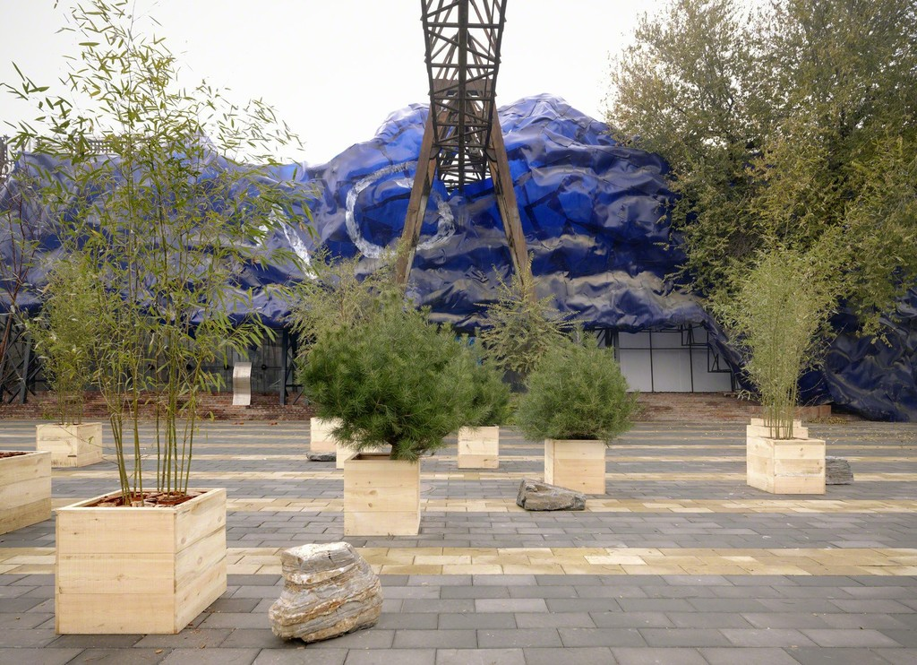 "Installation photo of ""Wish Tree Garden"" in connection with ""Yoko Ono: Golden Ladders"" Faurschou Foundation, Beijing (2015). Photo by Jonathan Leijonhufvud © Faurschou Foundation"
