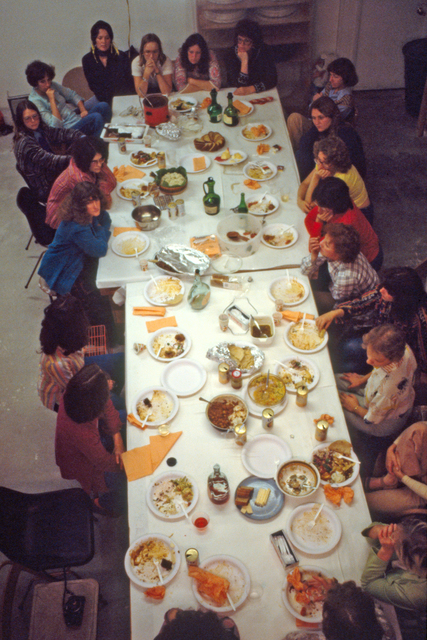 ", 'Thursday Night Potluck with ""The Dinner Party"" Workers,' 1978, Brooklyn Museum"
