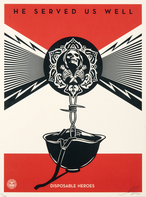 Shepard Fairey, 'Disposable Heroes', 2012, Print, Screen print in colours on paper, Tate Ward Auctions