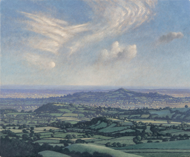 , 'Half Moon and Cirrus Clouds over Glastonbury Tor,' , Jonathan Cooper