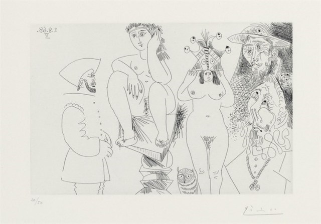 Pablo Picasso, 'TWO WOMEN, DON QUIXOTE, AN OWL AND TWO GENTLEMEN', 1968, Altmans Gallery