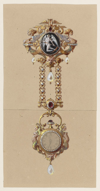 Alexis Falize, 'Design for a Chatelaine with Watch', ca. 1875, Cooper Hewitt, Smithsonian Design Museum