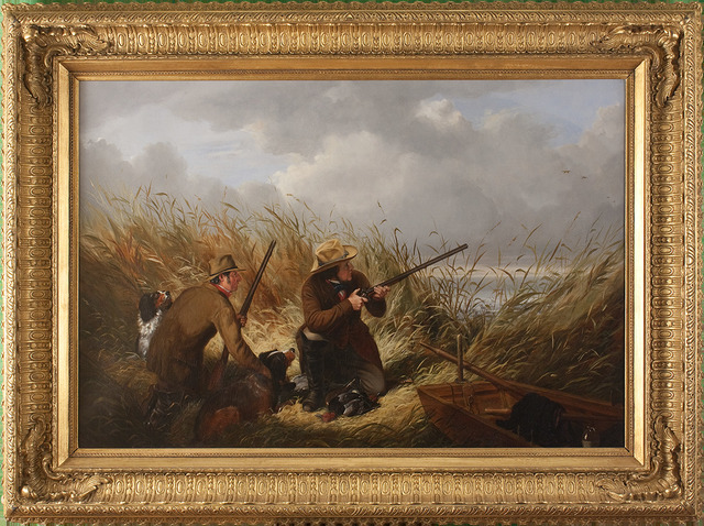 , 'Duck Shooting over Decoys,' 1854, Godel & Co.