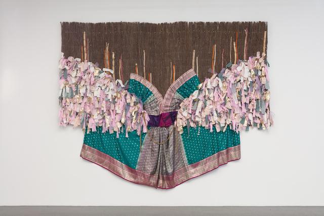 Suchitra Mattai, 'A Matter of Course ', 2018, Textile Arts, Fabric, vintage sari on organic fence, k contemporary