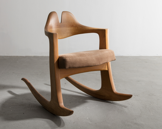 , 'Unique stack-laminated and carved oak Quinn Rocker with suede seat. Designed and made by Wendell Castle, Scottsville, New York, 1977. Carved signature and date to underside; W.C. 77.,' 1977, R & Company