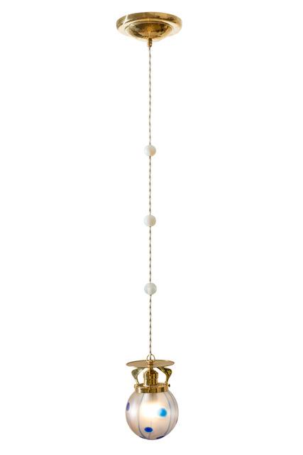 Loetz, 'Viennese Hanging Lamp ca. 1902 Loetz shade Streifen und Flecken', ca. 1902, Design/Decorative Art, Beaten brass & mouthblown glass, reduced and iriscendent, Kunsthandel Kolhammer