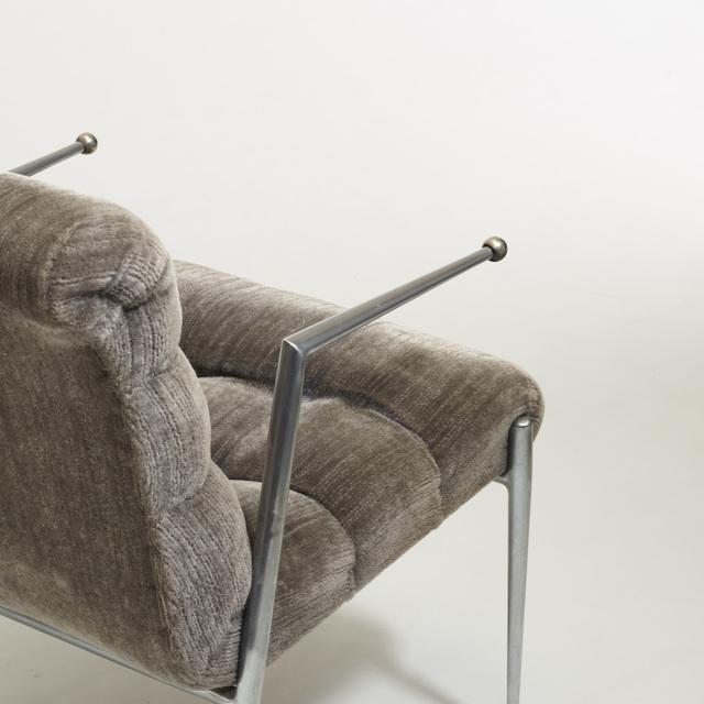 Donald Deskey, 'Rare Armchair, no. 500', 1939, Design/Decorative Art, Matte chrome-plated steel, upholstery, enameled steel, Rago/Wright