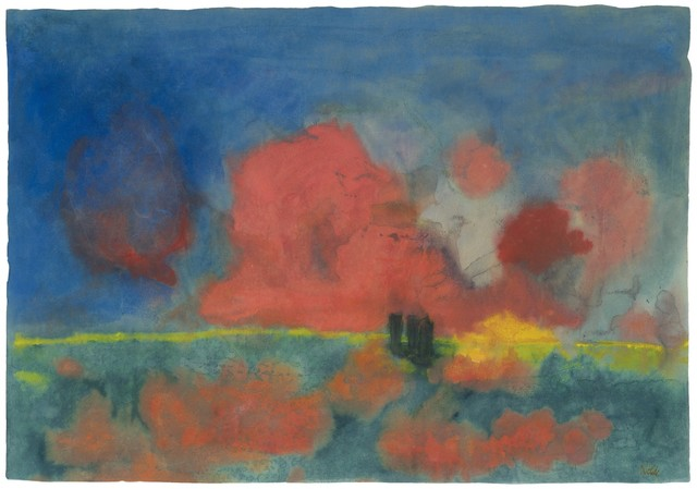 , 'Sea with Red Clouds and Dark Sailing Boats,' ca. 1935, Galerie Thomas