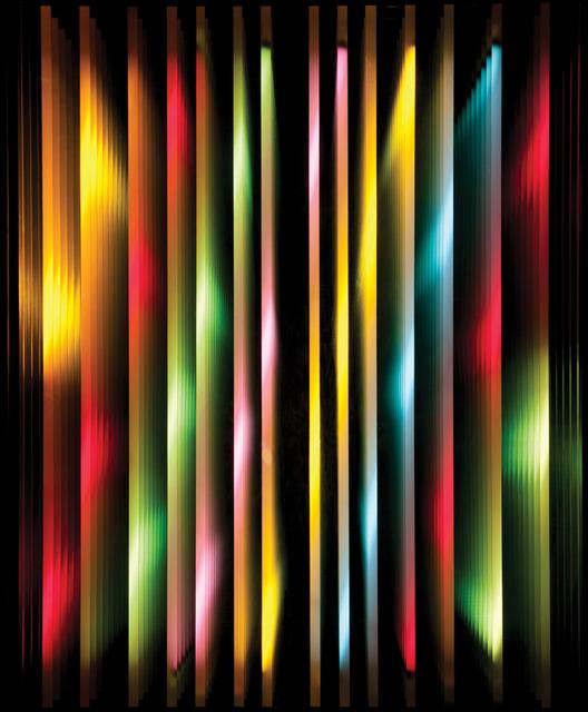 Chul-Hyun Ahn, 'Vertical Lines #3', 2011, Sculpture, Plywood, fluorescent lights, color gels, mirrors, C. Grimaldis Gallery