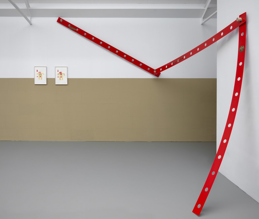 Exhibition overview group exhibition Push Angle, Kasper Bosmans, Mariana Castillo Deball, Jennifer Tee, 2019, Galerie Fons Welters, Amsterdam. Photography: Gert Jan van Rooij.