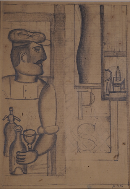 Henryk Streng/ Marek Włodarski, 'Preparatory drawing for Man with a Siphon painting ', 1926, Drawing, Collage or other Work on Paper, Pencil on paper, Olszewski Gallery