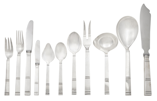 'H. Nils Sterling Silver Flatware Service', Doyle