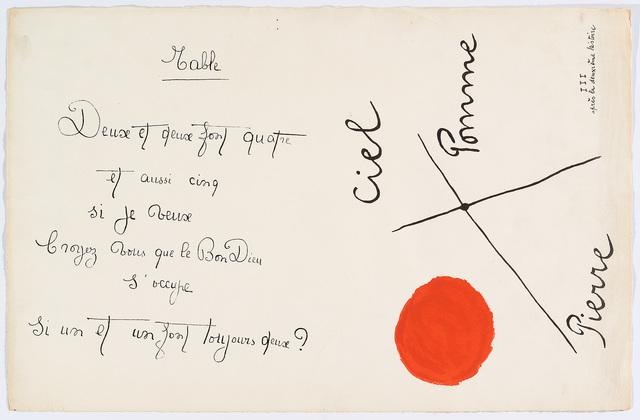 "Joan Miró, '""Il était une petite pie"" (There Was a Little Magpie) – Sheet I', 1928, Cerbera Gallery"