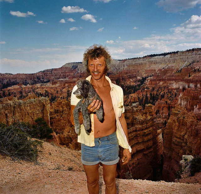 , 'Man with Poodle at Sunset Point, Bryce Canyon National Park, Utah ,' 1980, Joseph Bellows Gallery