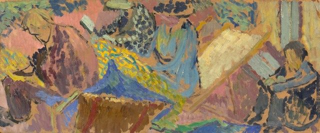 Duncan Grant, 'The Group at Asheham: Adrian Stephen, Virginia Woolf, Vanessa Bell, and Henri Doucet', 1913, Painting, Oil on board, Doyle