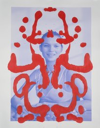 Kate Moss Rorschach (Red on Blue)