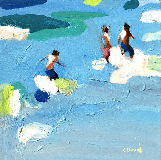 "Elizabeth Lennie, '""Spring Break 2"" abstract figurative oil painting of figures in blue/green water', 2019, Eisenhauer Gallery"