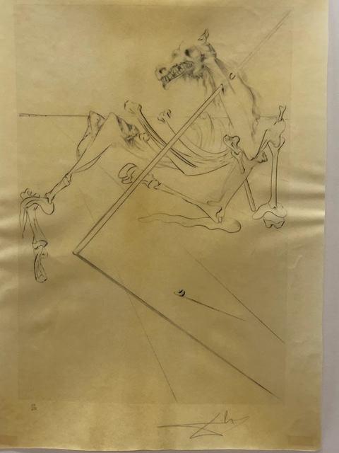 , 'Le soleil conchant allonge le squelette noir d' un grand cheval tres grand... la tête est soutnne par le fer dúne lance,' 1973, Artgráfico