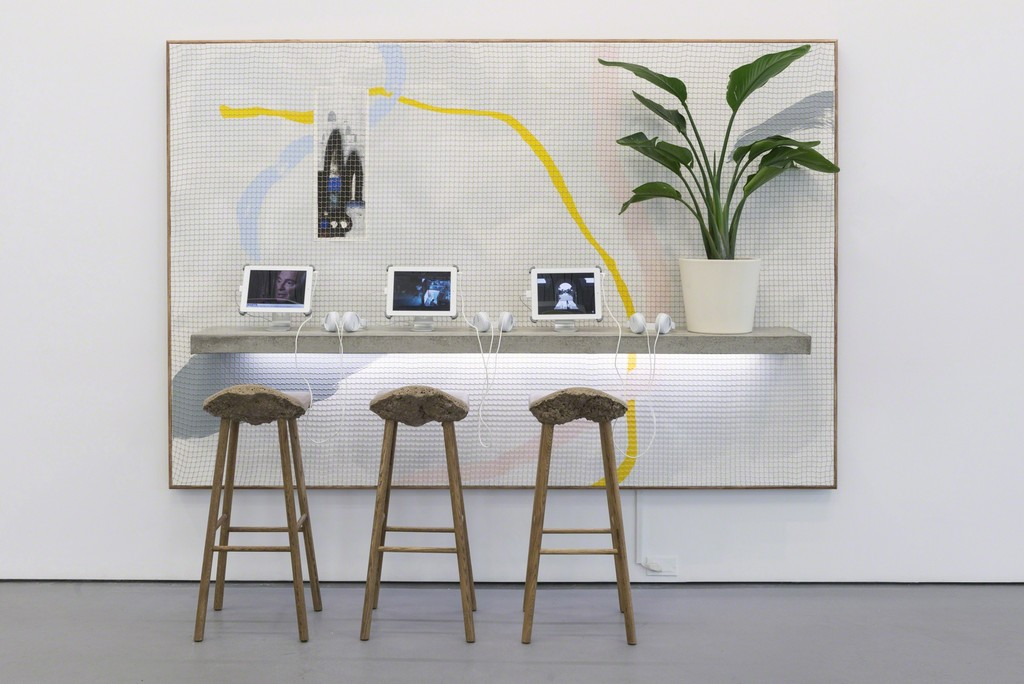 "Christopher Kulendran Thomas, 2018, acrylic on canvas, concrete shelf, LEDs, plant, stools and ""60 Million Americans Can't Be Wrong"" film (HD, 22:12)"