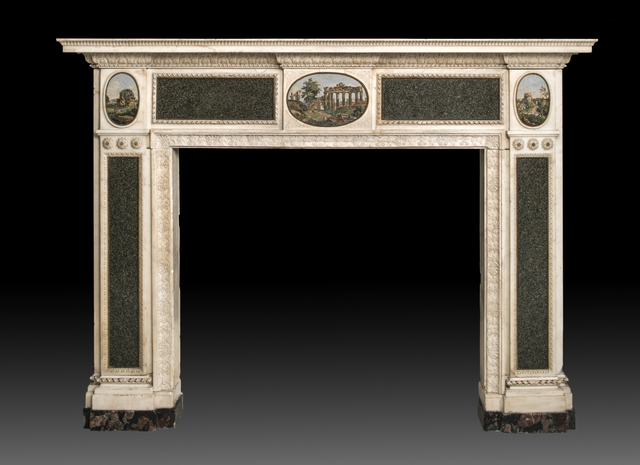, 'Sculpted and carved chimneypiece in white Carrara marble with green granite slabs and three oval micro-mosaic plaques,' 1775 – 1780, Alessandra Di Castro