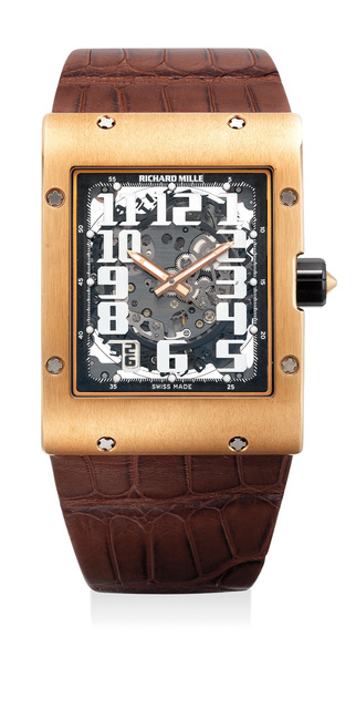 Richard Mille, 'A large, fine and attractive pink gold rectangular skeletonized wristwatch with date, variable geometry rotor, warranty and box', Circa 2010, Phillips