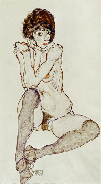 Egon Schiele, 'Seated Female Nude, Elbows Resting on Right Knee', 1914, Painting, Gouache and pencil on paper, Erich Lessing Culture and Fine Arts Archive