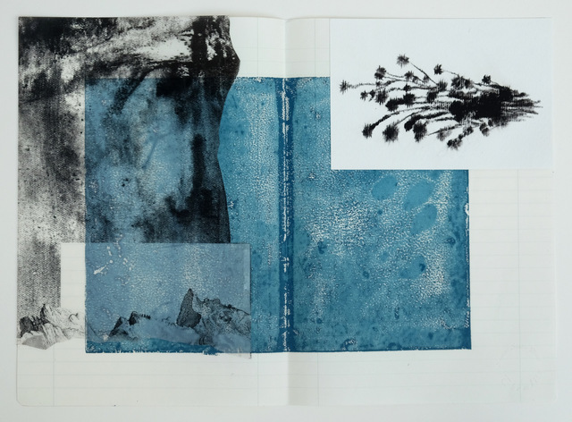 Susanne S. D. Themlitz, 'Y el silencio', 2018, Mixed Media, Woodcut on lined paper, serigraphy on tracing paper, watercolor on paper, Ángeles Baños