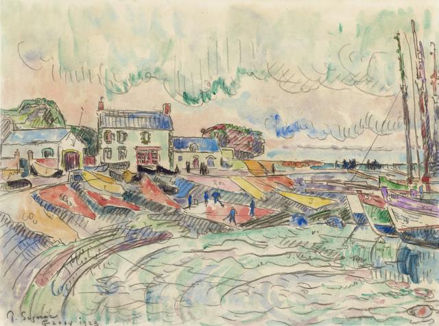 , 'Ile de Groix, le nettoyage des voiles,' 1923, Stoppenbach & Delestre