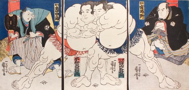 Utagawa Kuniyoshi, 'Sumo Wrestlers Shiranui Dakuemon (center left), Tsurugizan Taniemon (center right), with Refree Shikimori Inosuke (left) and Judge Retied Wrestler Miyagino (right)', ca. 1836, Ronin Gallery