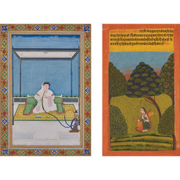 Two: One from a Ragamala, Gujari Ragini, depicting a female holding a vina within a lush landscape; the other of an elderly woman seated against a floral-patterned bolster smoking hookah on a terrace