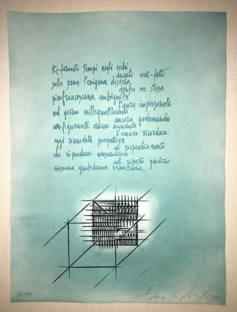 Arnaldo Pomodoro, 'Abstract Etching with Italian Poem III', 20th Century, Print, Etching, Lions Gallery