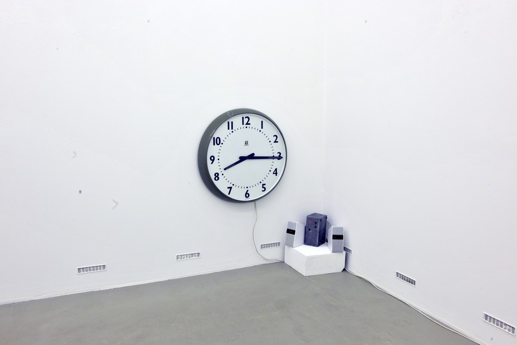 "David Garner. Timepiece. 2015. Factory Clock, Audio (""Ticky Tock"" – works and music by Woody Guthrie and Hans-Eckhardt Wenzel © 2003 BMG Bumblebee (BMI) All Rights Administered by BMG Rights Management (US) LLC. Used by Permission. All Rights Reserved)"