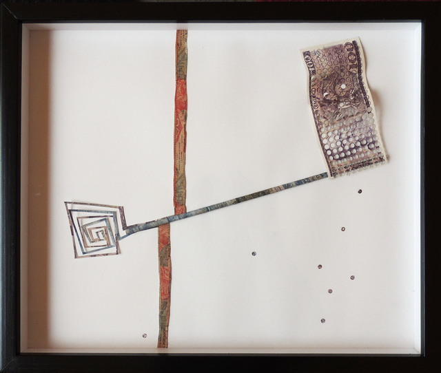 Máximo González, 'Strategic Step / Paso estrategico', 2015, Drawing, Collage or other Work on Paper, Collage: out-of-circulation currency, Lisa Sette Gallery