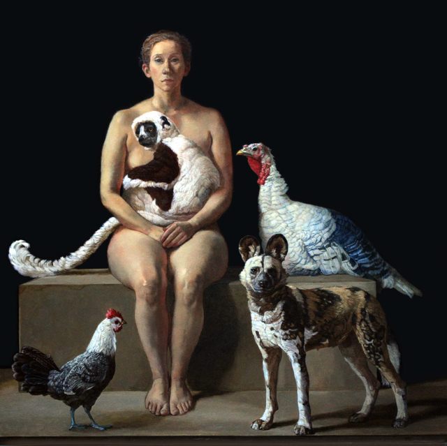 Patricia Traub, 'Rescuer With A Lemur, African Wild Dog, Two Rare Poultry', 2019, Gallery Henoch