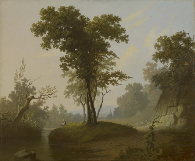 George Caleb Bingham, 'Landscape with Fisherman', ca. 1845-1850, Colby College Museum of Art