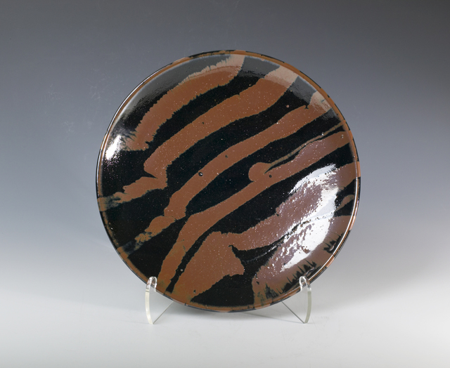 , 'Plate, tenmoku and kaki glaze with trailed decoration,' 1970, Pucker Gallery