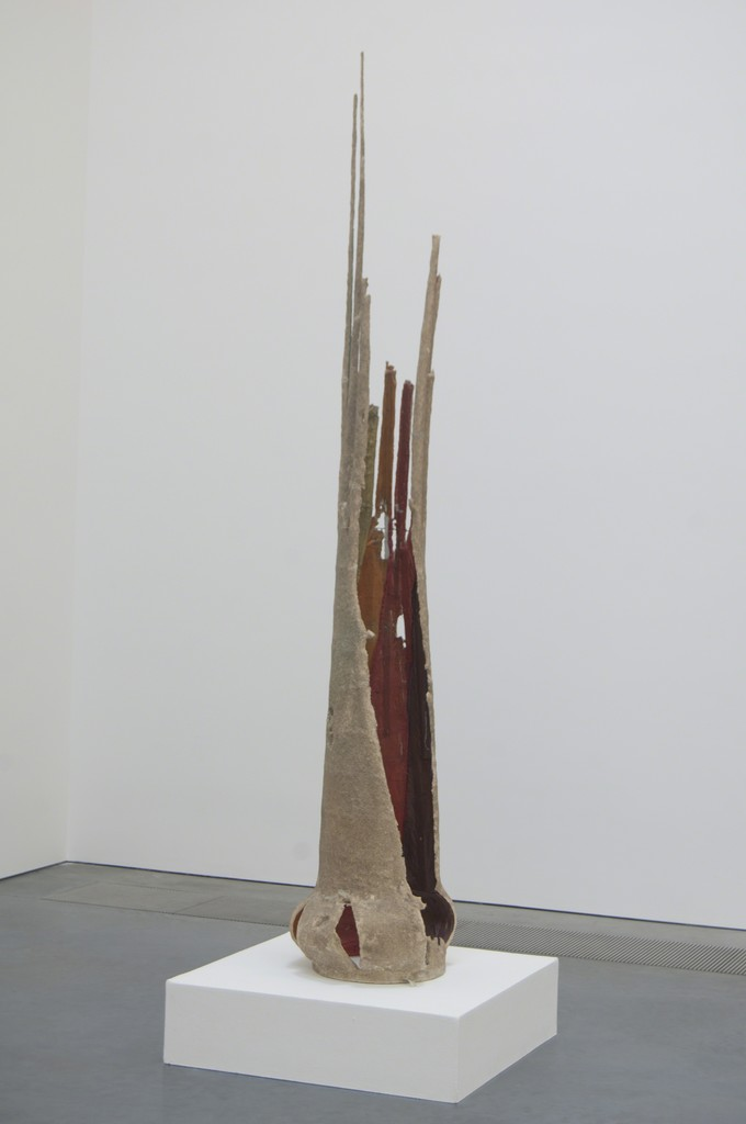 "Installation view of Ry Rocklen (American, born 1978), ""Sunday Spire,"" 2008. Windsock, metal, epoxy, paper-mache, and sand, 90 x 13 x 13 inches. Parrish Art Museum, Water Mill, New York, Gift of Carlo Bronzini Vender."